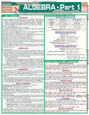 Algebra Part 1 - BarCharts, Inc.