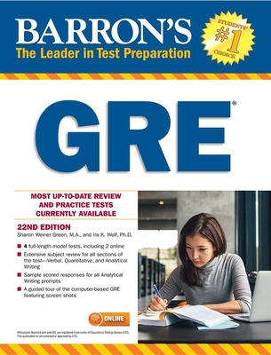 Barron's GRE, 22nd Edition - Green, Sharon Weiner, and Wolf, Ira K.