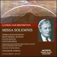 Beethoven: Missa Solemnis - Franz Schutz (organ); Gottlob Frick (bass); Hilde Rössl-Majdan (contralto); Julius Patzak (tenor);...