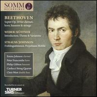 Beethoven: Septet Op. 20 for clarinet, horn, bassoon & strings; Weber/Küffner: Introduction, Theme & Variations; Stra - Carducci String Quartet; Chris West (double bass); Emma Denton (cello); Emma Johnson (clarinet); Eoin Schmidt-Martin (viola);...