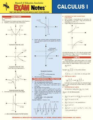 Calculus I Exam Notes - Research & Education Association, and Rea