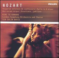 Mozart: Vesperae solennes de confessore; Kryrie in D minor; Ave verum corpus; Exsultate, jubilate - Elizabeth Bainbridge (contralto); Elizabeth Bainbridge (alto); Gwynne Howell (bass); John Constable (organ);...