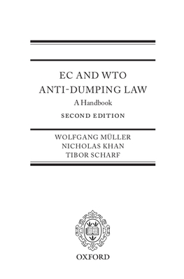 EC and Wto Anti-Dumping Law: A Handbook - Mueller, Wolfgang