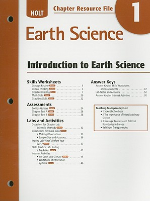 Holt Earth Science Chapter 1 Resource File: Introduction to Earth Science - Holt Rinehart & Winston (Creator)
