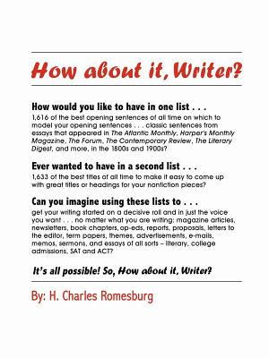 How about It, Writer? - Romesburg, Charles