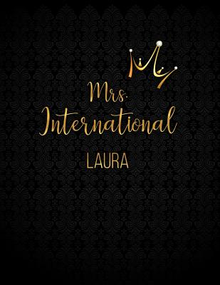 Laura: Black Personalized Lined Journal with Inspirational Quotes - Panda Studio