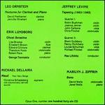 Leo Ornstein: Nocturne for Clarinet and Piano; Erik Lundborg: Ghost Sonatine; Michael Dellaira: Maud; etc.