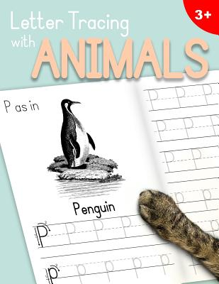 Letter Tracing with Animals: Learn the Alphabet - Handwriting Practice Workbook for Children in Preschool and Kindergarten - Light Bluepeach Cover - Dr Ashley Thomas
