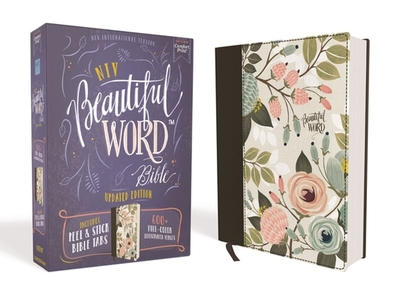 NIV, Beautiful Word Bible, Updated Edition, Peel/Stick Bible Tabs, Cloth over Board, Floral, Red Letter, Comfort Print: 600+ Full-Color Illustrated Verses - Zondervan