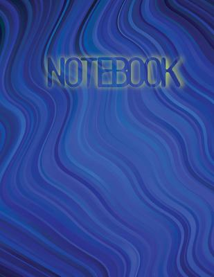 Notebook: 160 Extra-Wide Ruled Pages (Front and Back), Blank Lined Notebook, Soft Cover, Letter Size 8.5 X 11 Notebook: Large Composition Book, Journal, Dark Blue Pattern with Bent Ribbons - Kirk, Eddie