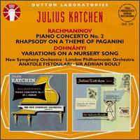 Rachmanonoff: Rhapsody,Op.43/Piano Concerto,Op.18/Dohnányi: Variations,Op.25 - Julius Katchen (piano)