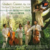 "Schubert: Quintet, Op. 114 ""The Trout"" - Barbara Bonney (soprano); Edgar Meyer (double bass); Emanuel Ax (piano); Pamela Frank (violin); Rebecca Young (viola);..."