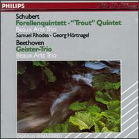 "Schubert: ""Trout"" Quintet; Beethoven: Geister-Trio - Beaux Arts Trio; Bernard Greenhouse (cello); Georg Maximilian Hortnagel (double bass); Isidore Cohen (violin); Menahem Pressler (piano); Samuel Rhodes (viola)"