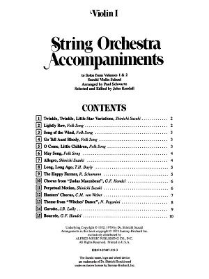 String Orchestra Accompaniments to Solos from Volumes 1 & 2: Violin 1 - Kendall, Diana Elizabeth (Editor), and Kendall, John (Editor)